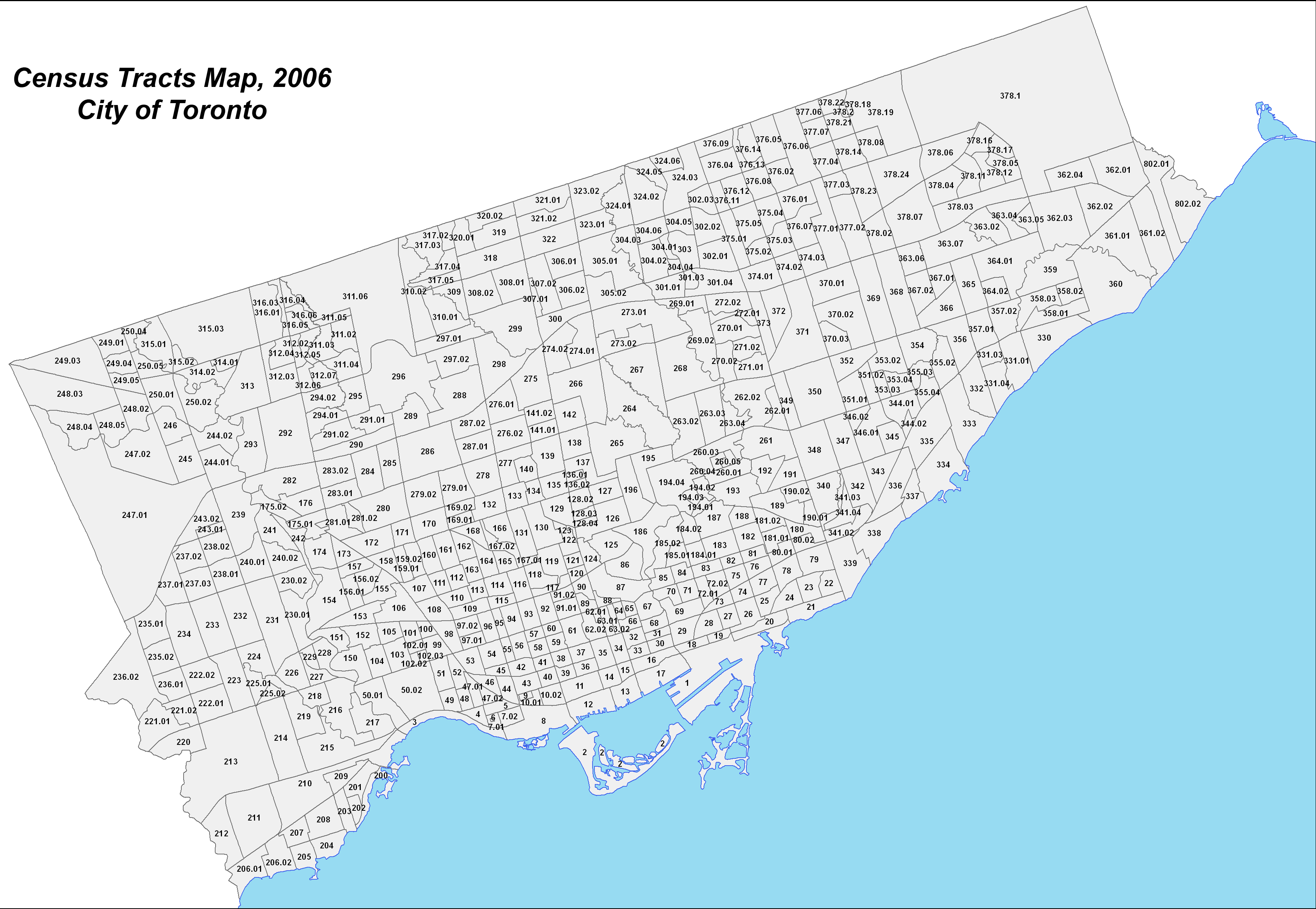 City of Toronto (2006) Census Tracts Map-PNG image